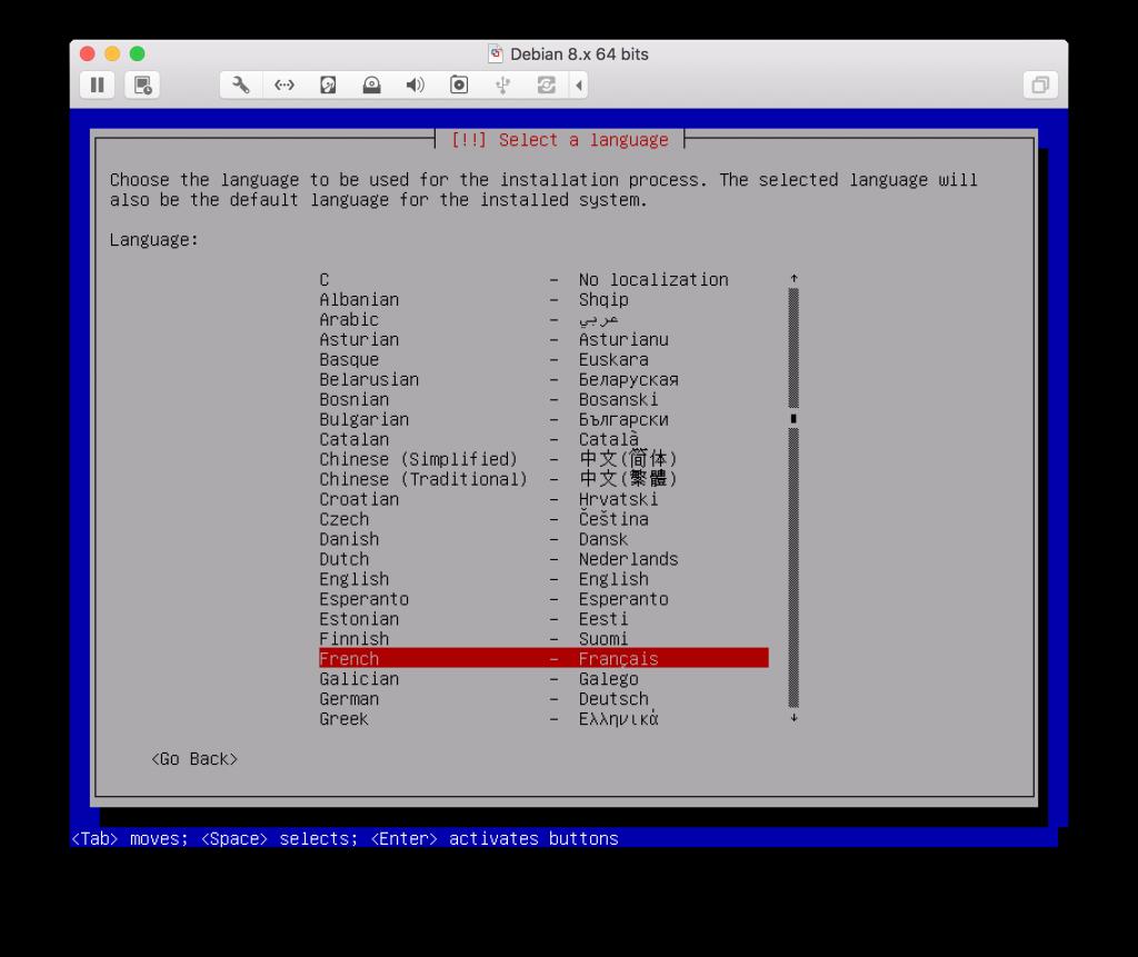 Choix langue serveur web debian jaguar network