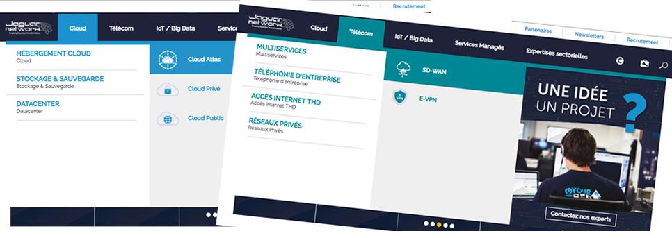 Menu nouveau site web ciblé expertises Jaguar Network