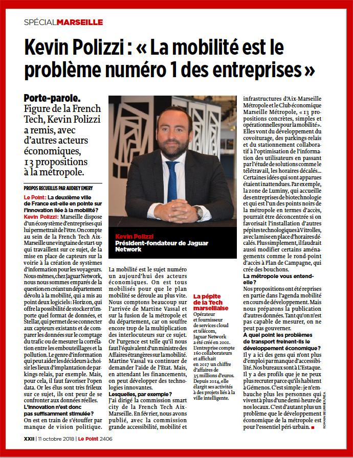 Interview de Kevin POLIZZI pour Le Point Spécial Marseille et mobilité.