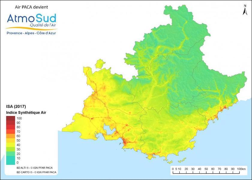 Carte qualité de l'air Provence Alpes Côte d'Azur 2017
